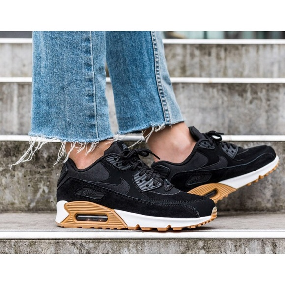 quality design bde7a a34ab Nike Air Max 90 Black Suede + Gum Sole Sneakers